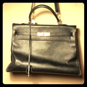 HERMÈS PARIS DESIGNER CALFSKIN LEATHER HANDBAG